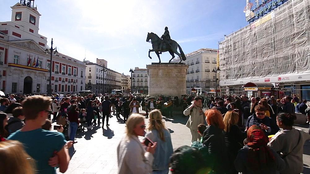 Roaming shot of Equestrian Statue of Carlos III in Puerta del Sol, Madrid, Spain, Europe - 844-16685