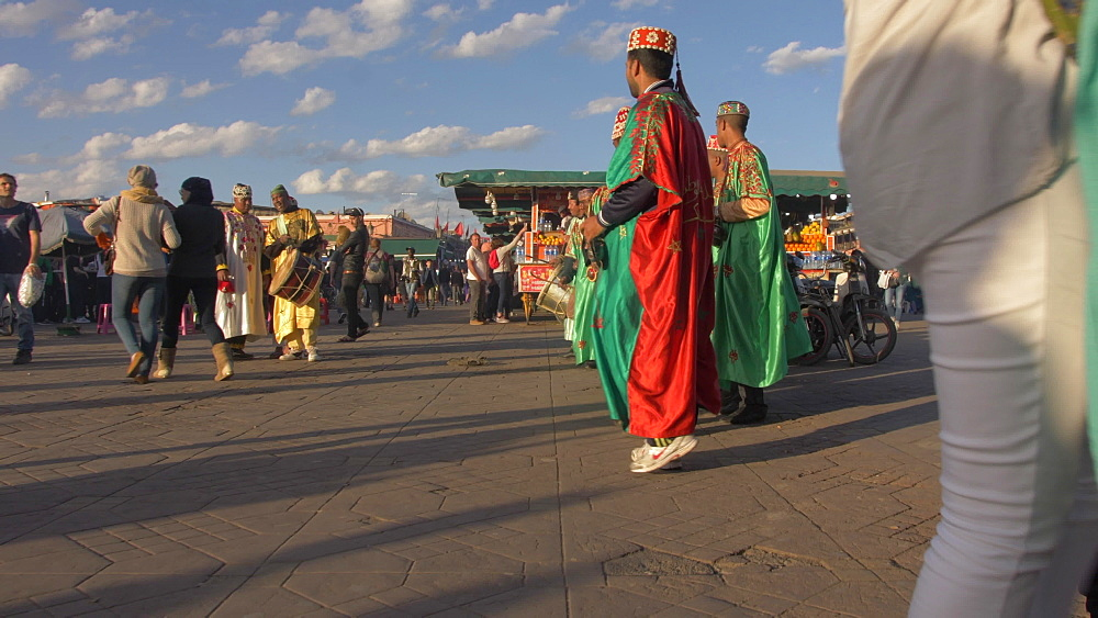 Activity on Djemaa el Fna during late afternoon, Marrakech, Morocco, North Africa, Africa
