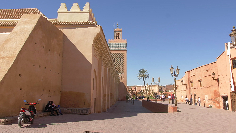 Roaming shot of Moulay El yazid Mosque through archway, Marrakesh, Morocco, North Africa, Africa - 844-16729