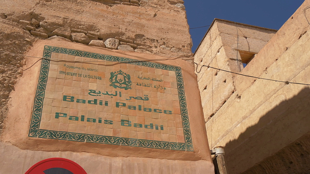 Badii Palace sign, Marrakesh, Morocco, North Africa, Africa - 844-16737
