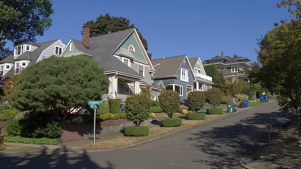 View of suburban houses near Kerry Park, Queen Ann District, Seattle, Washington State, United States of America, North America