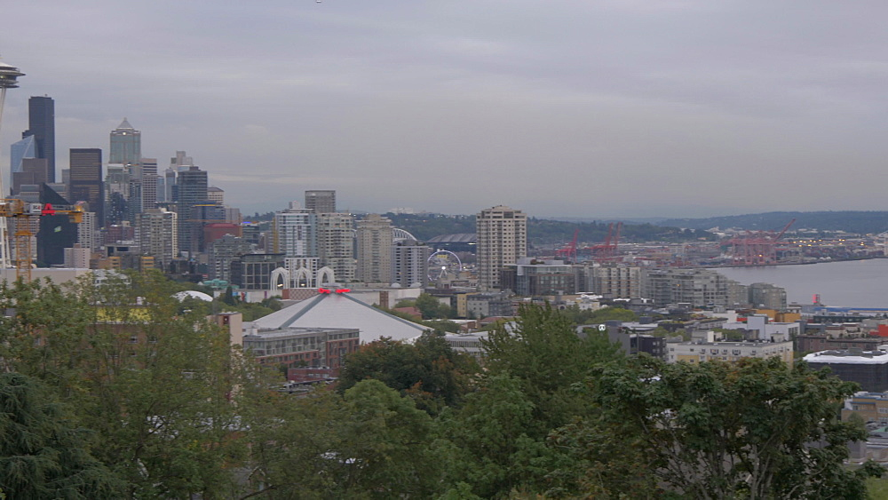 View of Space Needle and Downtown Seattle from Kerry Park, Queen Ann District, Seattle, Washington State, United States of America, North America
