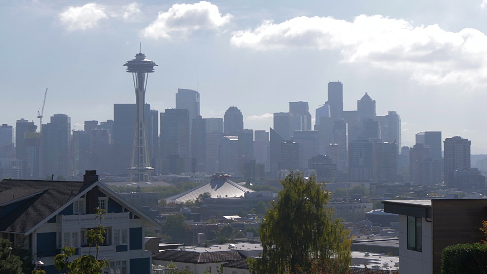 View of Space Needle and Downtown Seattle from suburban Queen Ann District, Seattle, Washington State, United States of America, North America