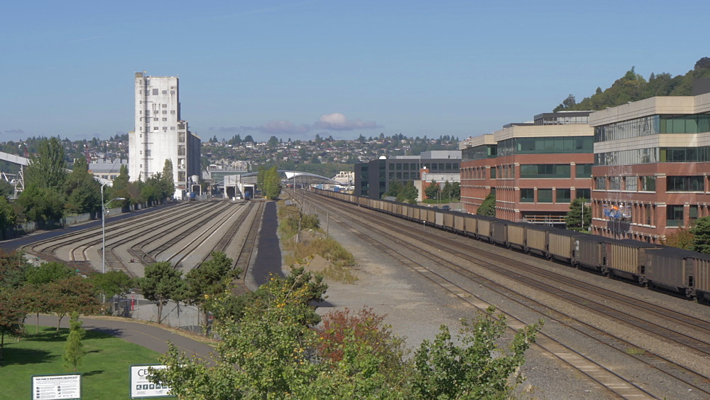View of coal locomotive on outskirts of Downtown Seattle, Seattle, Washington State, United States of America, North America