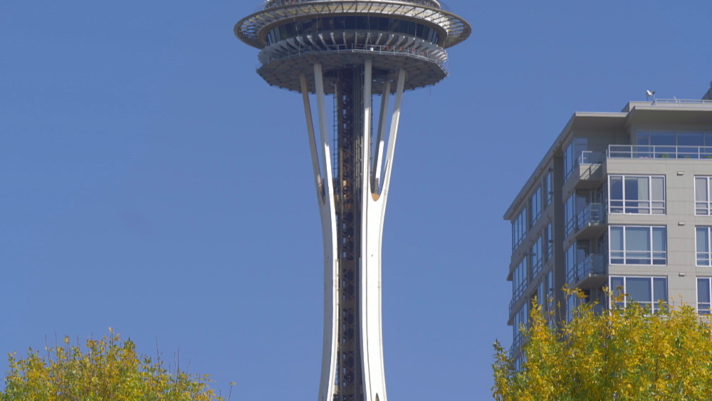 View of Space Needle from Olympic Sculpture Park on outskirts of Downtown Seattle, Seattle, Washington State, United States of America, North America