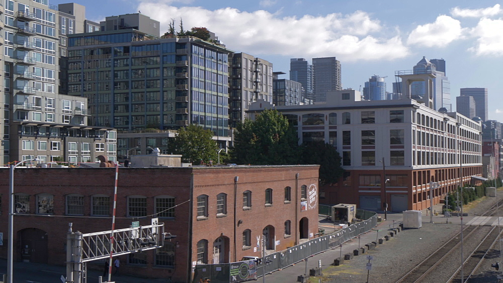 View of Space Needle, railroad and urban buildings of Downtown Seattle, Seattle, Washington State, United States of America, North America