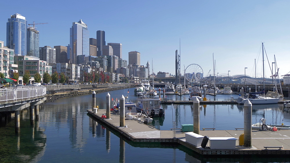 View of restaurants on Pier 66 and Downtown Seattle visible in background, Seattle, Washington State, United States of America, North America