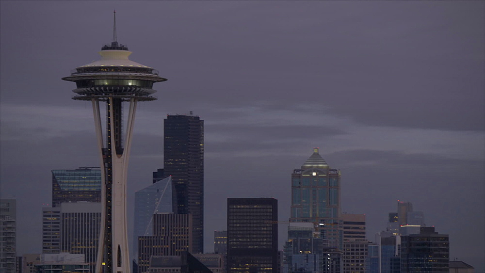 Pan shot of Space Needle and Downtown Seattle from Kerry Park, Queen Ann District, Seattle, Washington, USA, North America - 844-16791