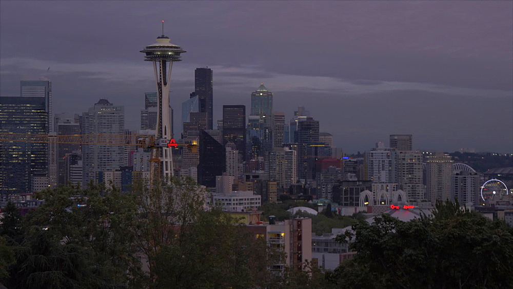 View of Space Needle and Downtown Seattle from Kerry Park at dusk, Queen Ann District, Seattle, Washington State, United States of America, North America