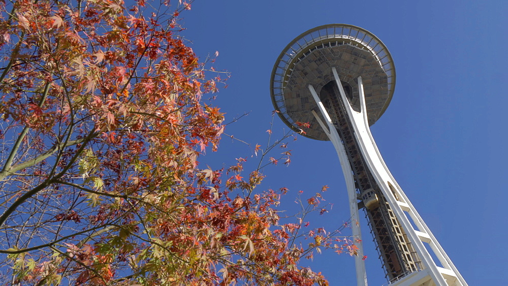 Tilt shot of Space Needle from International Fountain Park, Seattle, Washington State, United States of America, North America