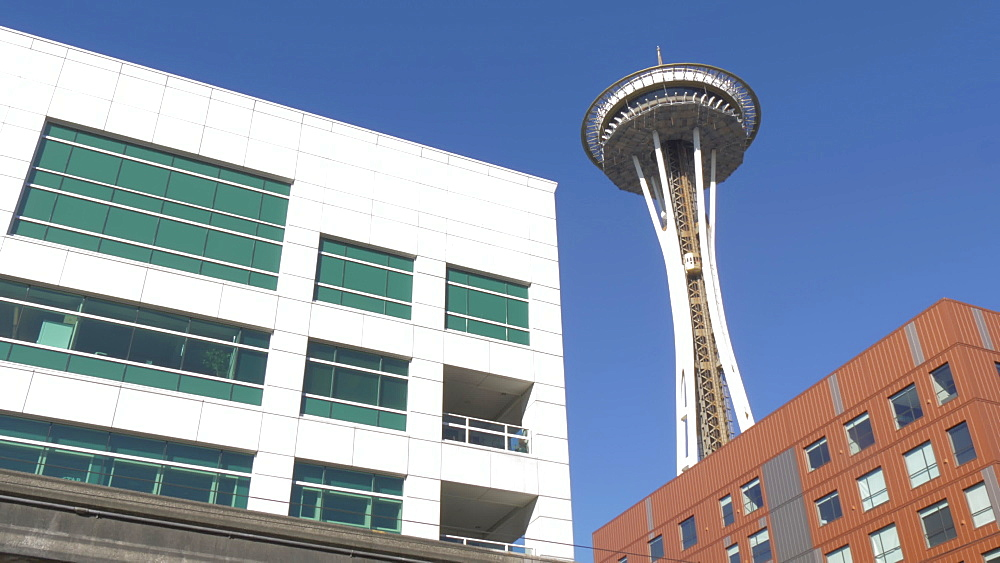 Shot of Space Needle and Museum of Pop Culture, Seattle, Washington State, United States of America, North America - 844-16804