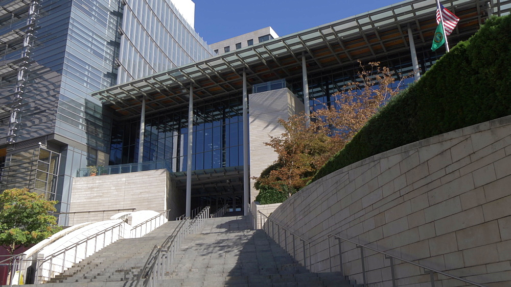 View of entrance to Seattle City Hall, Seattle, Washington State, United States of America, North America - 844-16808