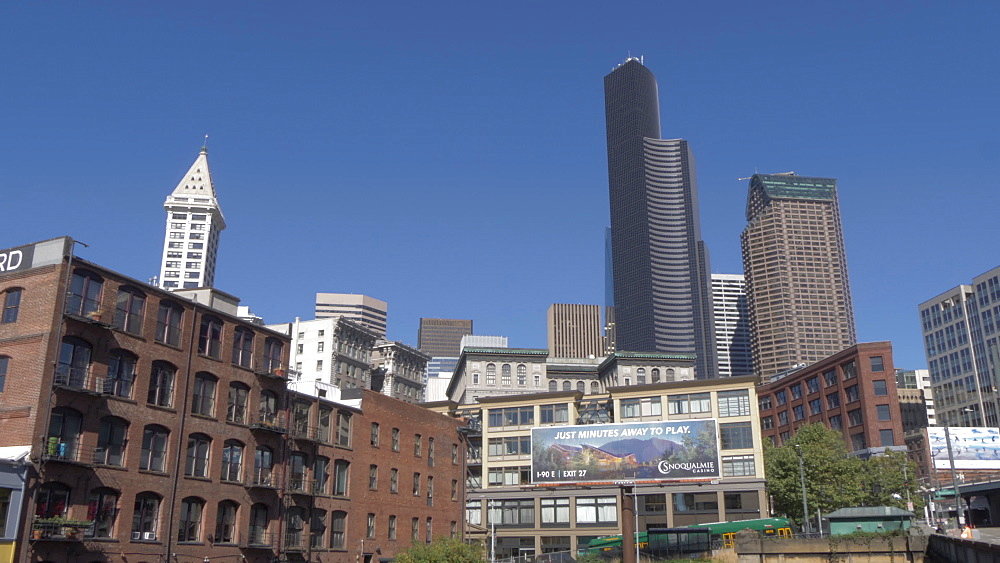View of freight train and urban buildings of Downtown skyline, Seattle, Washington State, United States of America, North America - 844-16809