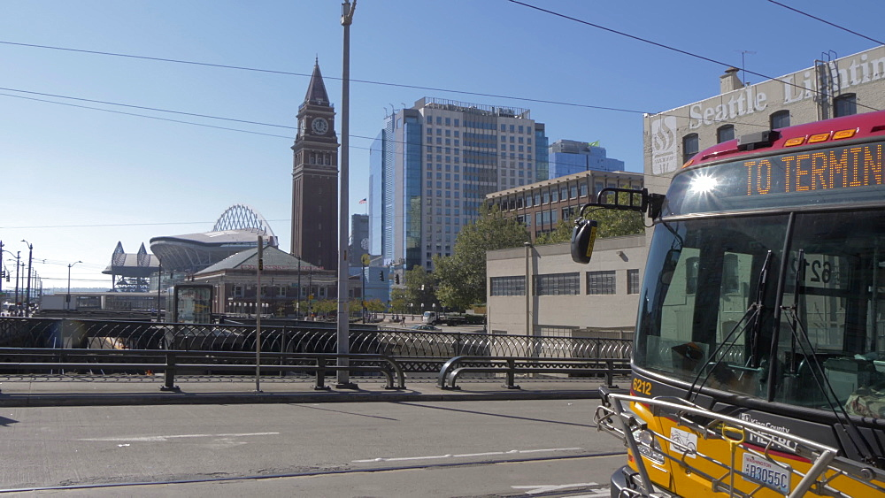 View of bus and King Street Station in background, Seattle, Washington State, United States of America, North America