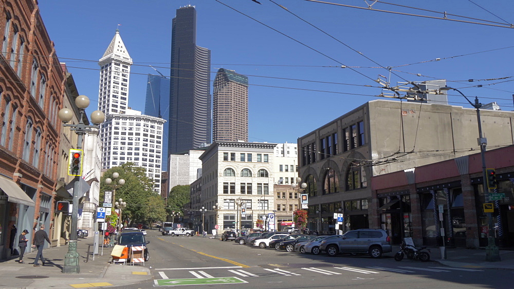 View of buildings and street scene on Kings Street, Pioneer Square District, Seattle, Washington State, United States of America, North America - 844-16811