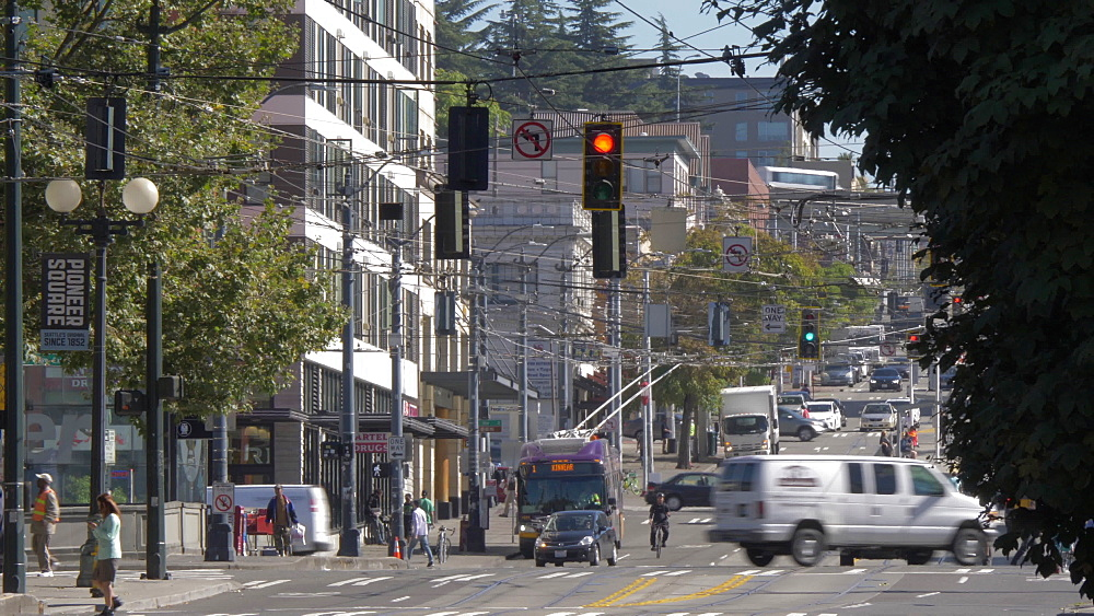 View of buildings and street scene on Kings Street, Pioneer Square District, Seattle, Washington State, United States of America, North America - 844-16812