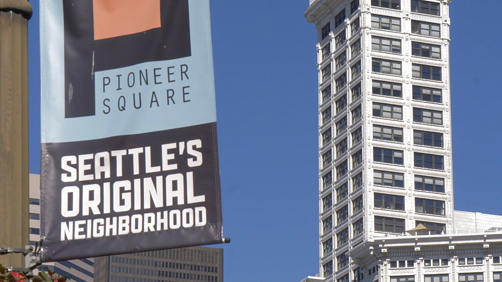 View of Pioneer Square Neighbourhood sign and Smith Tower, Seattle, Washington State, United States of America, North America - 844-16815