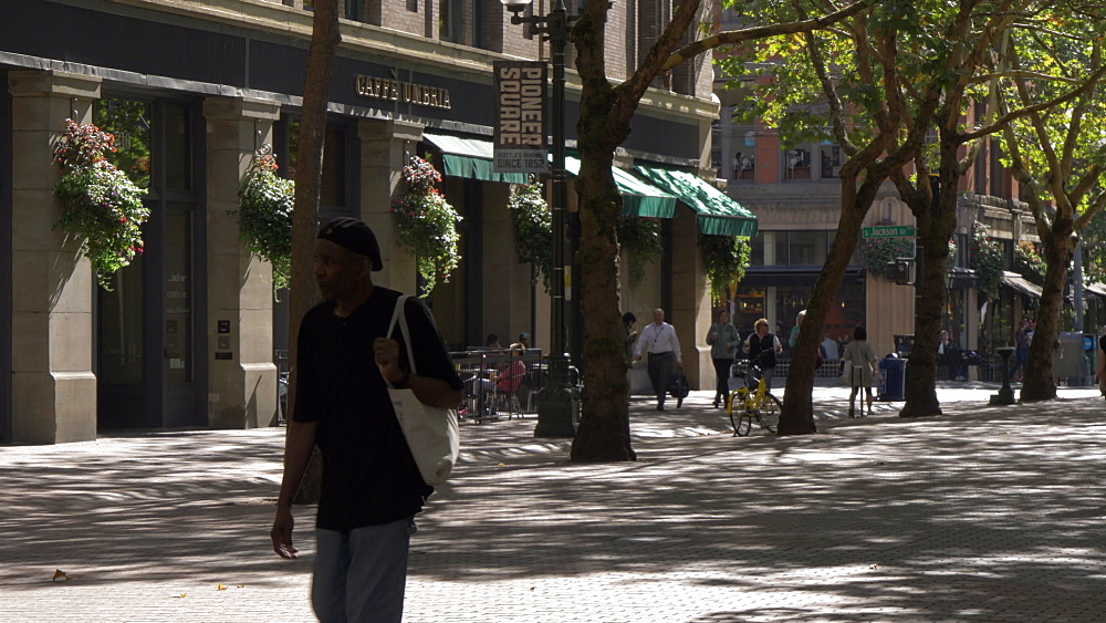 View of buildings and street scene on Occidental Avenue, Pioneer Square District, Seattle, Washington State, United States of America, North America - 844-16816