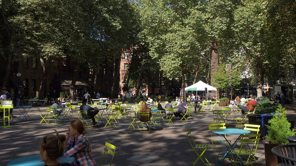View of buildings and street scene on Occidental Square, Pioneer Square District, Seattle, Washington State, United States of America, North America - 844-16817