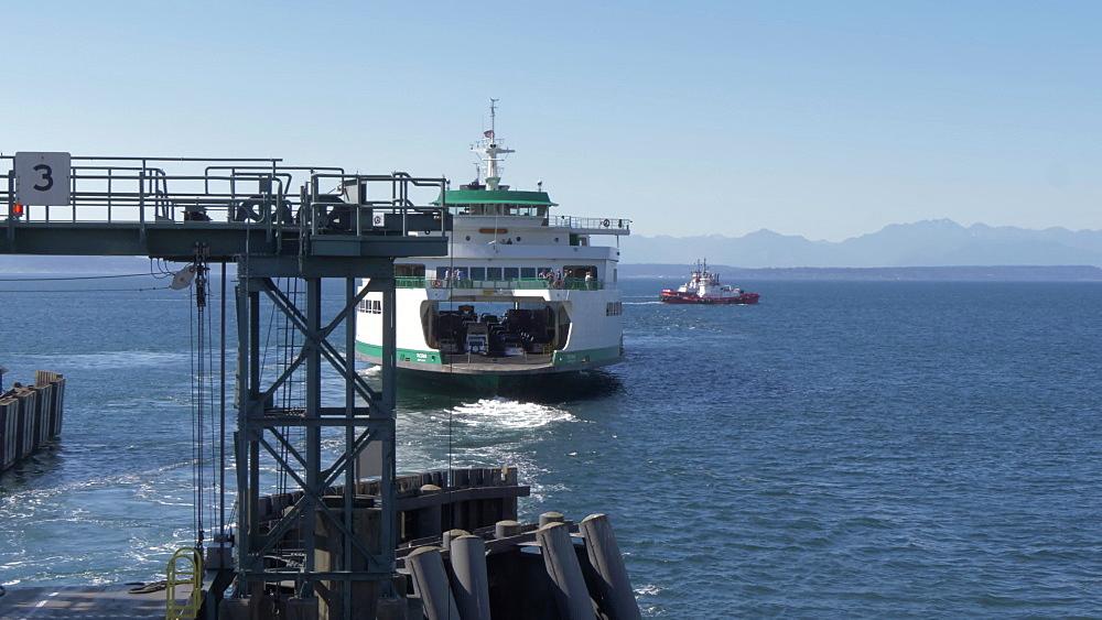 View of Bainbridge-Seattle Ferry leaving Colman Dock Ferry Terminal, Seattle, Washington State, United States of America, North America - 844-16822
