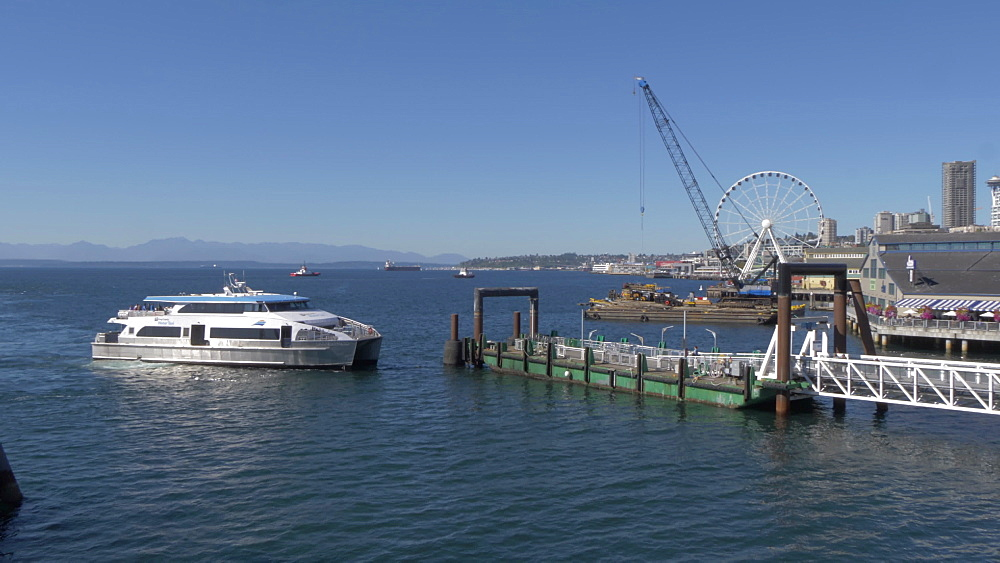 View of Downtown and Seattle Great Wheel from Colman Dock Ferry Terminal, Seattle, Washington State, United States of America, North America - 844-16823