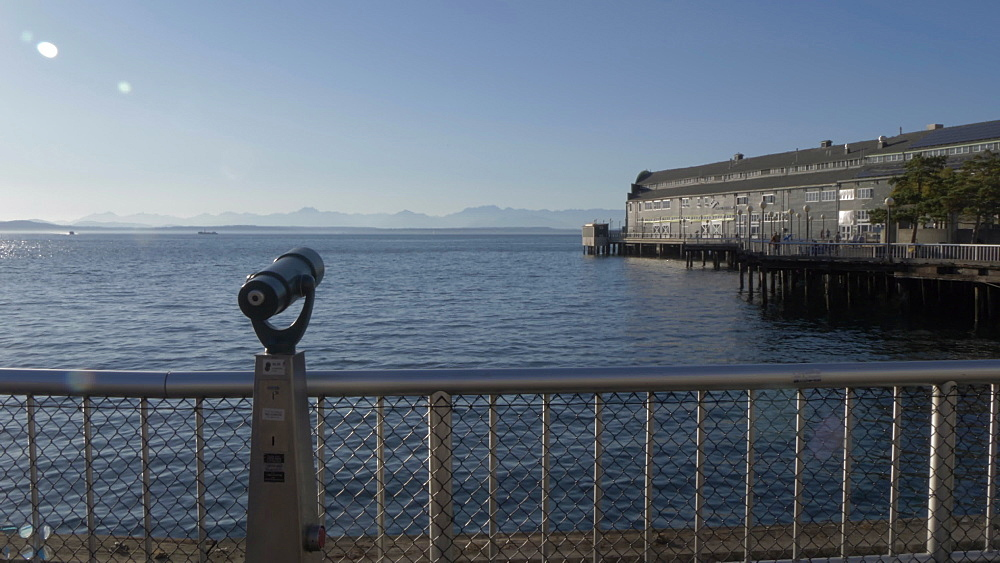 View of Seattle Great Wheel and Elliott Bay toward Bainbridge Island, Seattle, Washington State, United States of America, North America - 844-16827