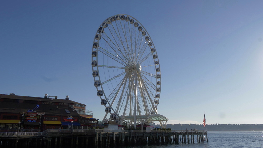 View of Seattle Great Wheel and Elliott Bay, Seattle, Washington State, United States of America, North America - 844-16828