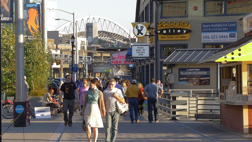 View of Piers and people along Alaskan Way towards CenturyLink Fields, Seattle, Washington State, United States of America, North America - 844-16835