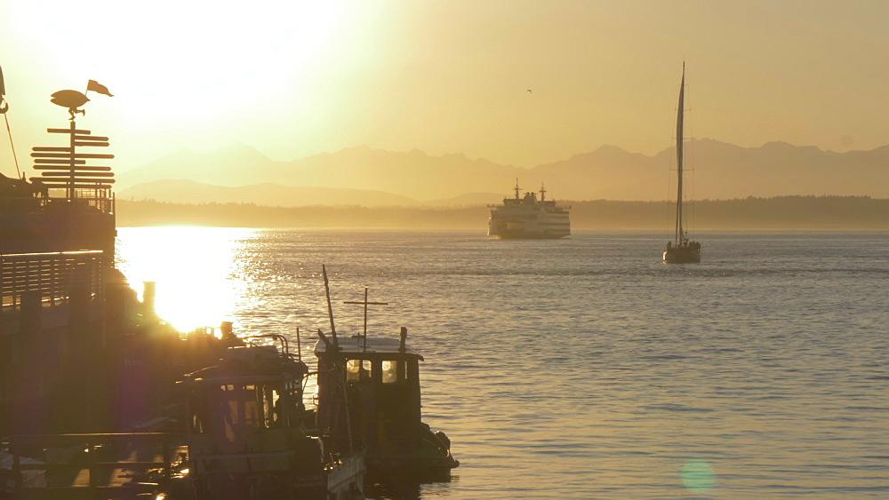 View of Pier, Bainbridge Island and Elliott Bay at sunset, Seattle, Washington State, United States of America, North America - 844-16838