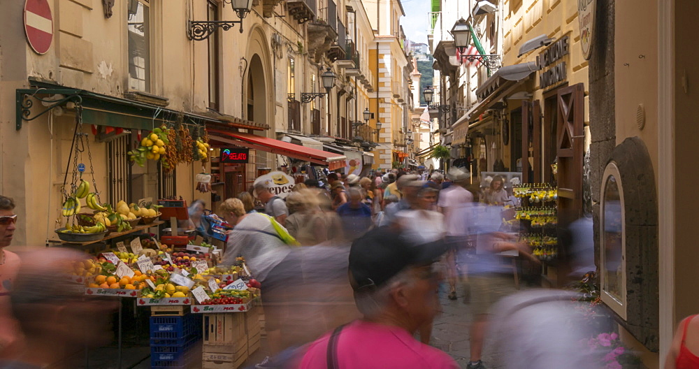 Time lapse of shoppers on Via San Cesareo, Sorrento, Campania, Amalfi Coast, Italy, Europe