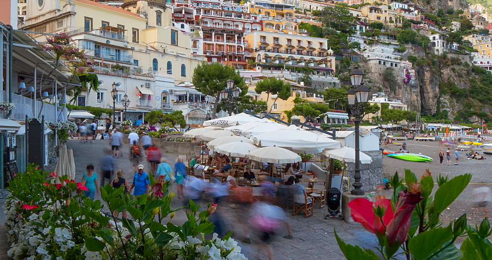 Time lapse of Restaurants on Via Marina Grande, Positano, Province of Salerno, Costiera Amalfitana (Amalfi Coast), UNESCO World Heritage Site, Campania, Italy, Europe