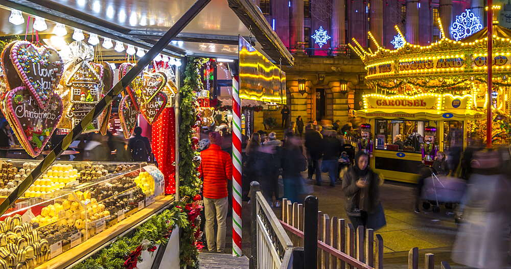 Time lapse of Christmas Market in Old Market Square, Nottingham, Nottinghamshire, England, United Kingdom, Europe