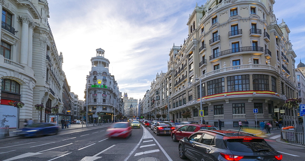 Time lapse of traffic on Gran Via, Calle de Alcala, Madrid, Spain, Europe