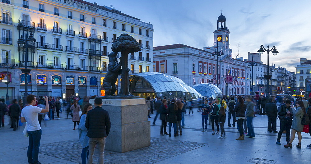 People and Bear and Strawberry Tree in Puerto Del Sol, Madrid, Spain, Europe