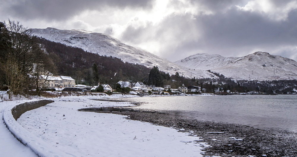 Snow shower on Loch Long, near Arrochar, Argyll and Bute, Scottish Highlands, Scotland, United Kingdom, Europe - 844-16899