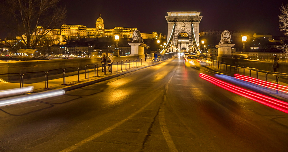 Time lapse of traffic on Chain Bridge and Budapest Castle at night in winter, Budapest, Hungary, Europe - 844-16902