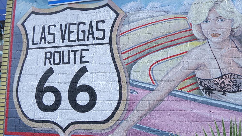 View of Las Vegas wall painting on The Strip, Las Vegas Boulevard, Las Vegas, Nevada, United States of America, North America - 844-17107
