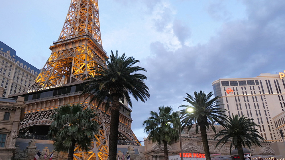 View of Eiffel Tower of Paris Hotel and Casino at dusk on The Strip, Las Vegas Boulevard, Las Vegas, Nevada, United States of America, North America