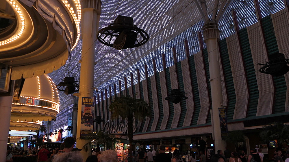View of zip wire riders on Fremont Street Experience, Downtown, Las Vegas, Nevada, United States of America, North America