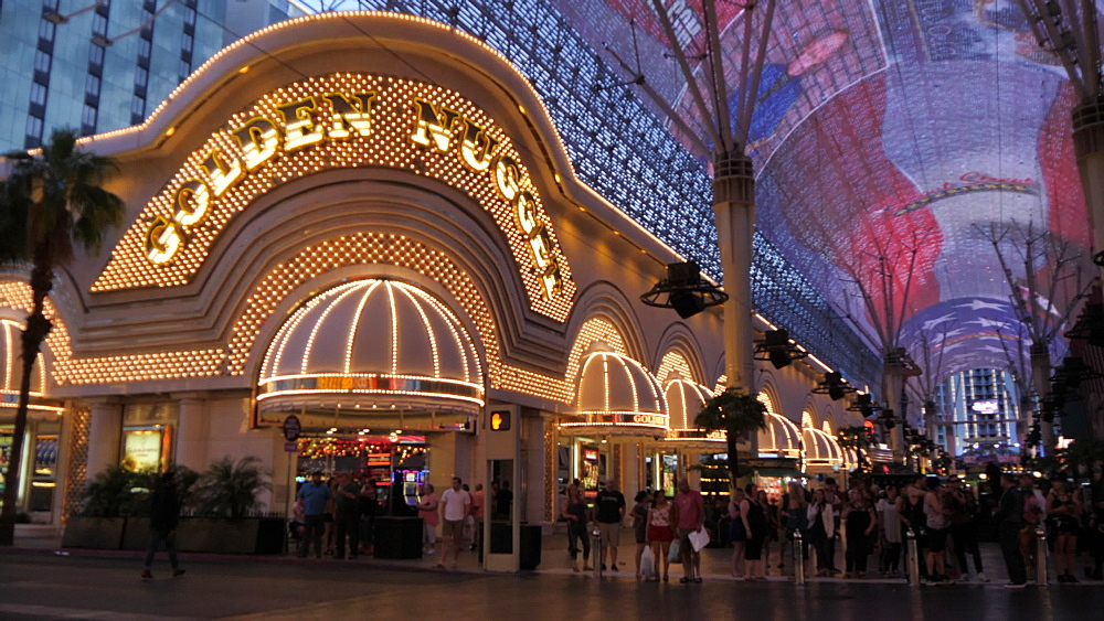 View of neon lights on Fremont Street Experience, Downtown, Las Vegas, Nevada, United States of America, North America