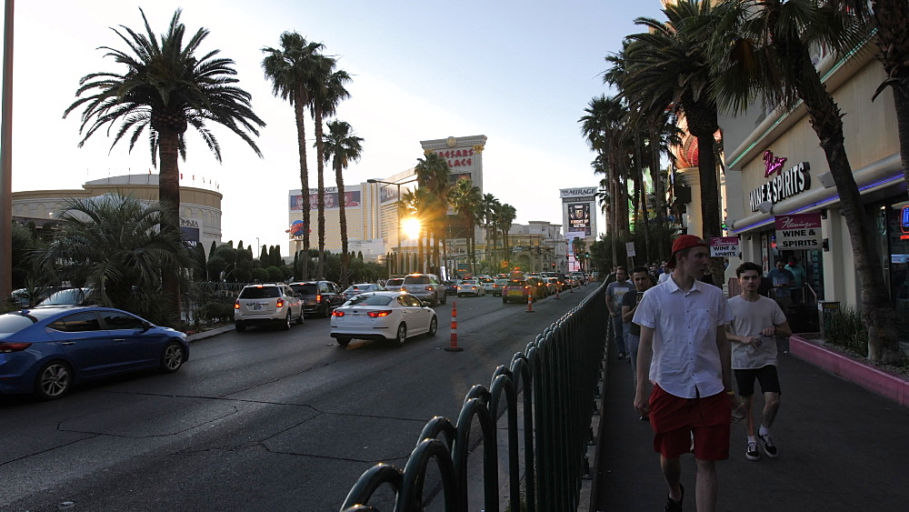 View of pedestrians near Flamingo Hotel and Casino and traffic on The Strip, Las Vegas Boulevard, Las Vegas, Nevada, United States of America, North America