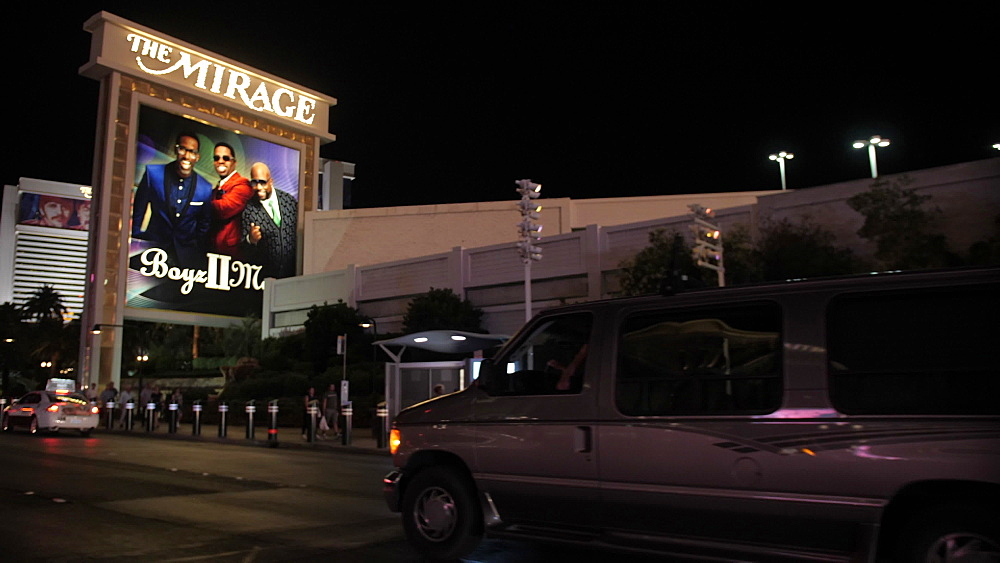 View from car driving on The Strip, Las Vegas Boulevard at night, Las Vegas, Nevada, United States of America, North America