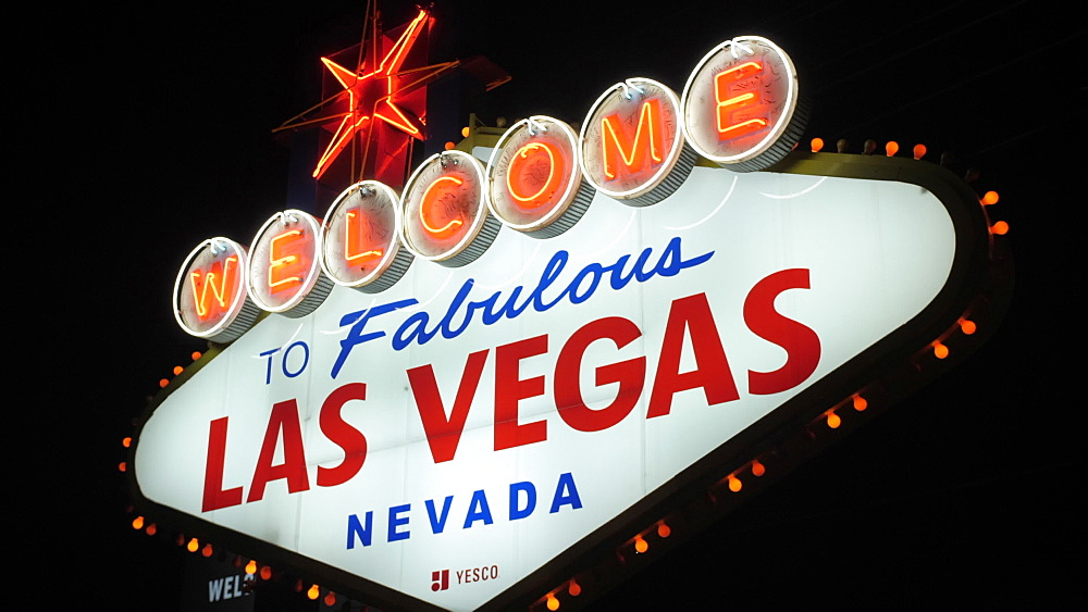 View of Welcome to Fabulous Las Vegas sign on The Strip, Las Vegas Boulevard at night, Las Vegas, Nevada, United States of America, North America - 844-17199