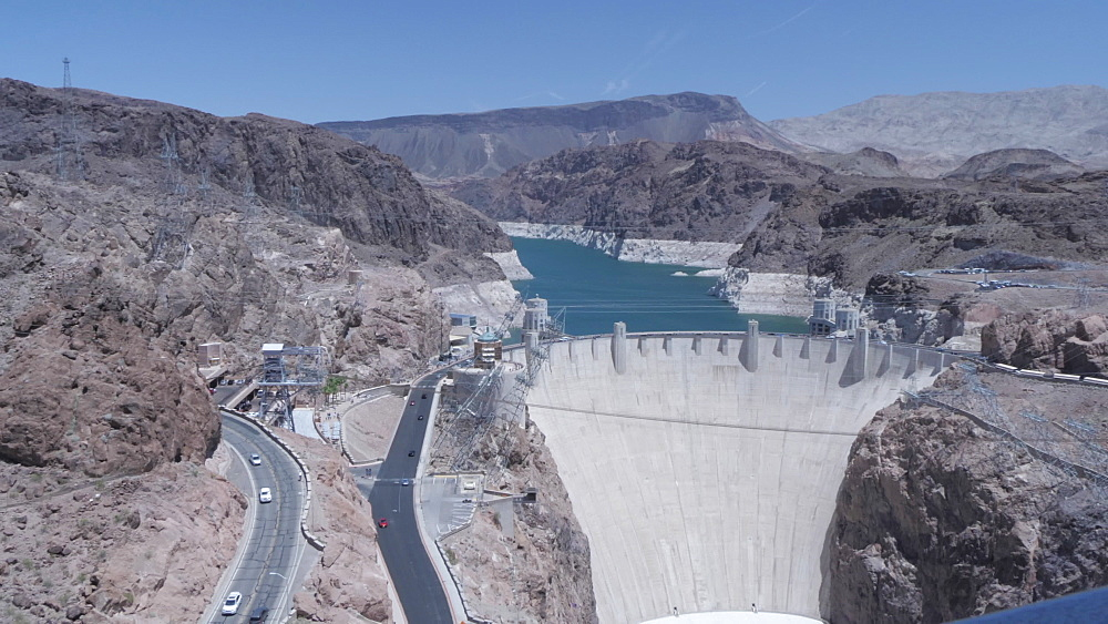 View of the Hoover Dam from the Mike O'Callaghan-Pat Tillman Memorial Bridge, Nevada/Arizona border, United States of America, North America - 844-17200