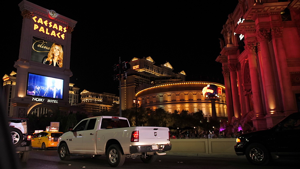 Travelling The Strip at night by car, Las Vegas, Nevada, United States of America, North America