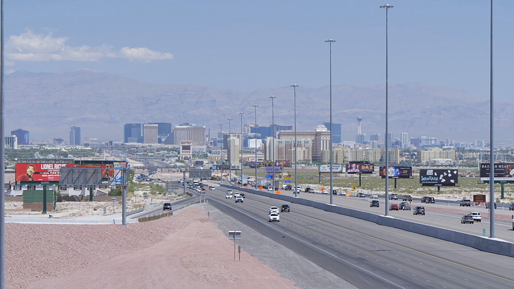 View of traffic on Highway 15 leading to and from Las Vegas, Las Vegas, Nevada, United States of America, North America