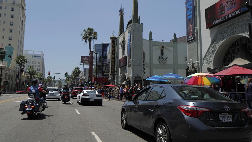 Travelling on Hollywood Boulevard, Hollywood and view of TCL Chinese Theatre, Los Angeles, California, United States of America, North America