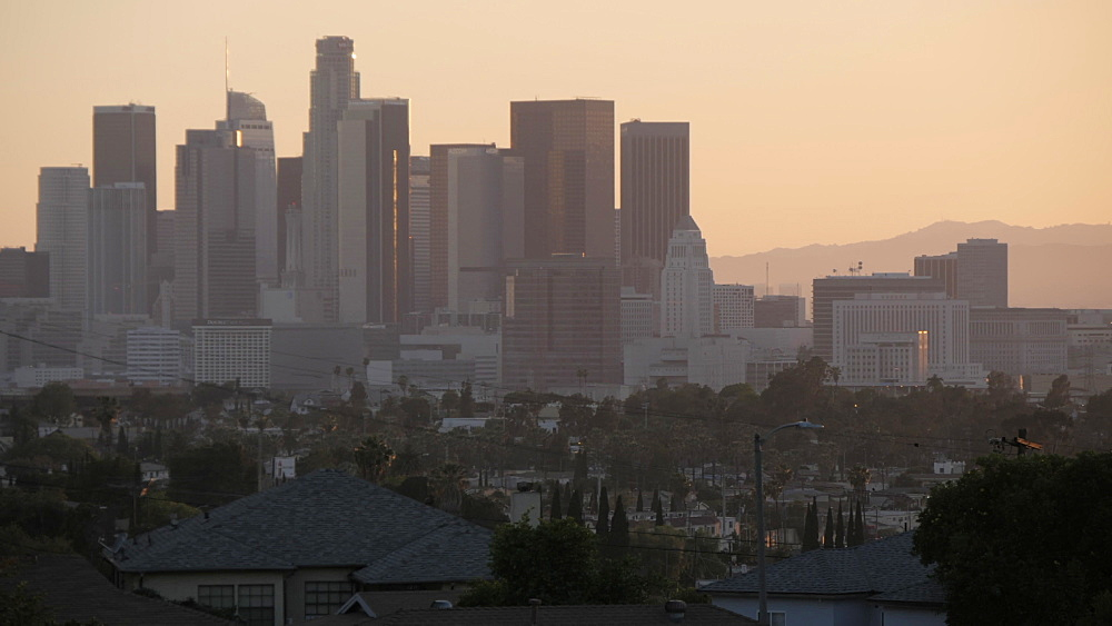 Panoramic view of Downtown LA from suburbs at sunset, Los Angeles, California, United States of America, North America