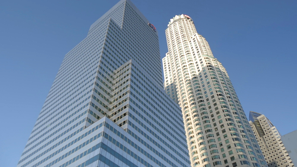 View of skyscrapers in Downtown LA, Downtown, Los Angeles, California, United States of America, North America