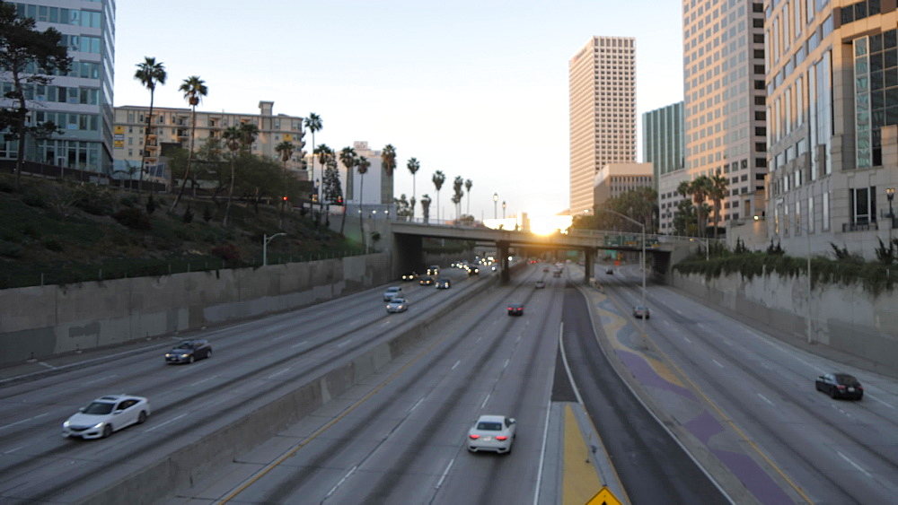 View of skyscrapers and California Freeway in Downtown LA, Downtown, Los Angeles, California, United States of America, North America